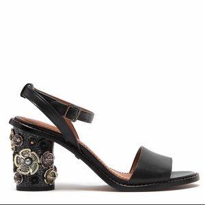 Coach Tea Rose Black Mid Heel Sandal SZ 6- 6.5